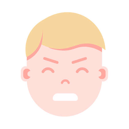 boy head emoji personage icon with facial emotions, avatar character, man nervous face with different male emotions concept. flat design. vector illustration.