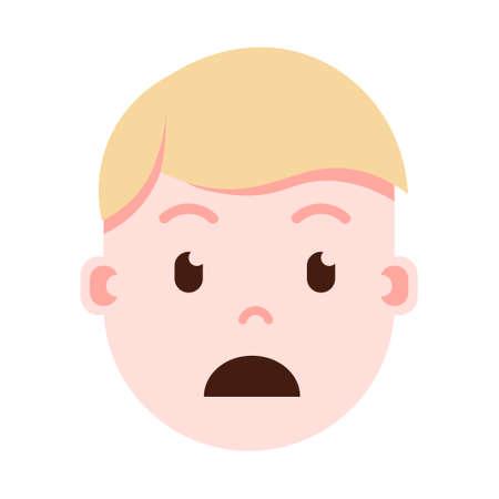 emoji tête de garçon avec des émotions faciales, caractère avatar, visage affligé de l'homme avec le concept de différentes émotions masculines. design plat. illustration vectorielle