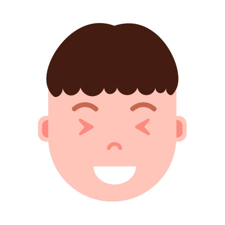 boy head emoji personage icon with facial emotions, avatar character, man satisfied face with different male emotions concept. flat design. vector illustration