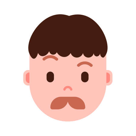 boy head emoji personage icon with facial emotions, avatar character, man mustache face with different male emotions concept. flat design. vector illustration