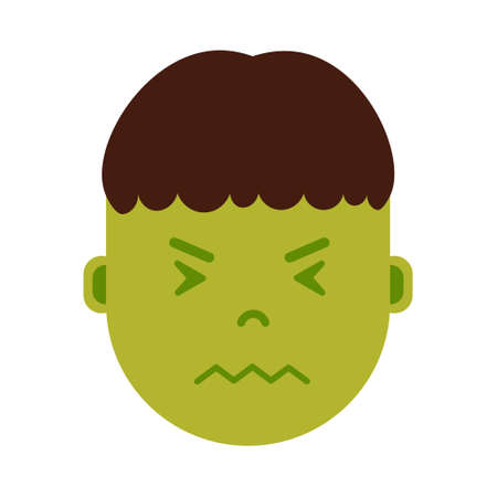 boy head emoji personage icon with facial emotions, avatar character, man in sickness face with different male emotions concept. flat design. vector illustration Illustration