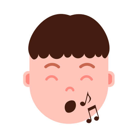 boy head emoji personage icon with facial emotions, avatar character, man show singing face with different male emotions concept. flat design. vector illustration