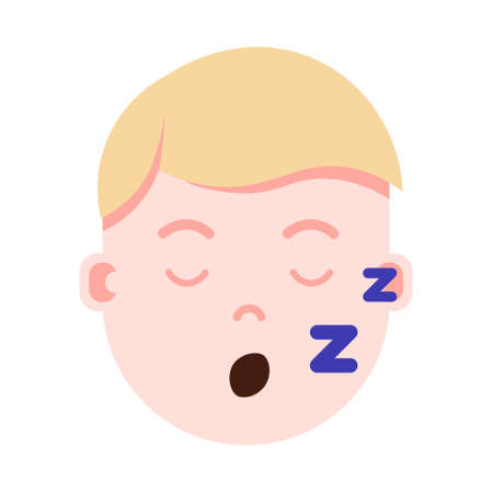 boy head with facial emotions, avatar character, man sleep face with different male emotions concept. flat design. vector illustration