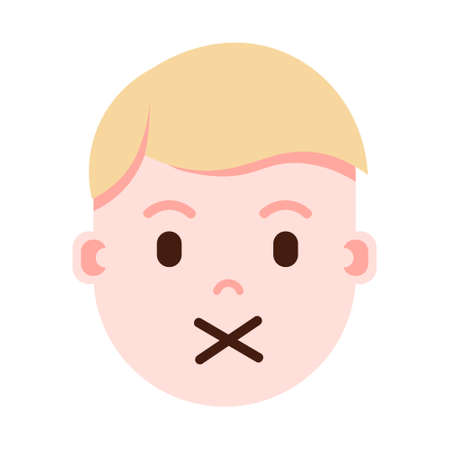 boy head with facial emotions, avatar character, man silence face with different male emotions concept. flat design. vector illustration