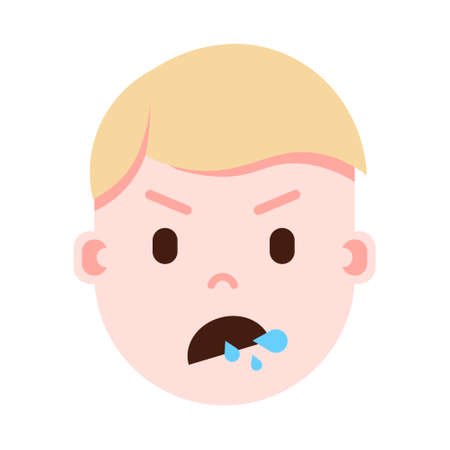 boy head emoji with facial emotions, avatar character, man split face with different male emotions concept. flat design. vector illustration
