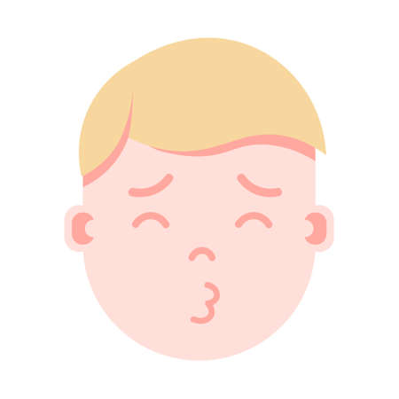 boy head emoji personage icon with facial emotions, avatar character, man sleep kissing face with different male emotions concept. flat design. vector illustration Illustration