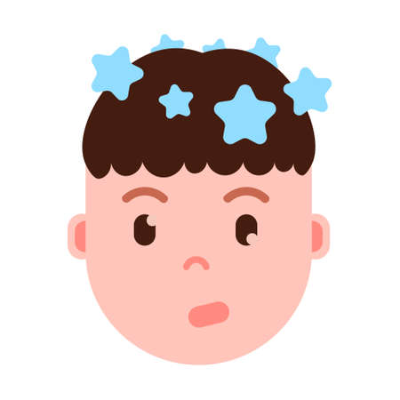 boy head emoji personage icon with facial emotions, avatar character, man vertigo face with different male emotions concept. flat design. vector illustration