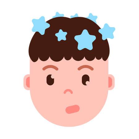 icono de personaje de emoji de cabeza de niño con emociones faciales, personaje de avatar, cara de vértigo de hombre con concepto de diferentes emociones masculinas. diseño plano. ilustración vectorial