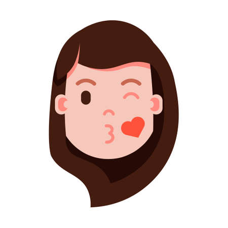 girl head emoji personage icon with facial emotions, avatar character, woman love face with different female emotions concept. flat design. vector illustration  イラスト・ベクター素材