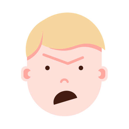 boy head emoji with facial emotions, avatar character, man anger face with different male emotions concept. flat design. vector illustration Illustration