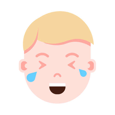 boy head emoji personage icon with facial emotions, avatar character, man crying face with different male emotions concept. flat design. vector illustration
