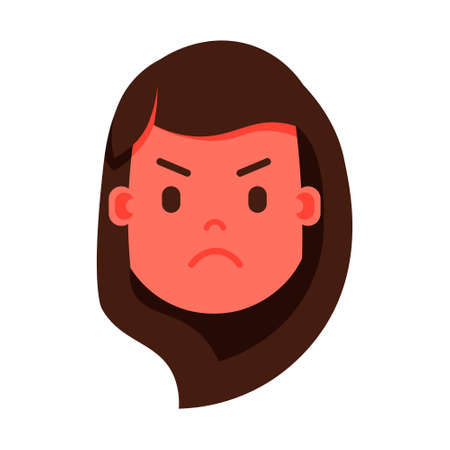 girl head emoji personage icon with facial emotions, avatar character, woman angry face with different female emotions concept. flat design. vector illustration