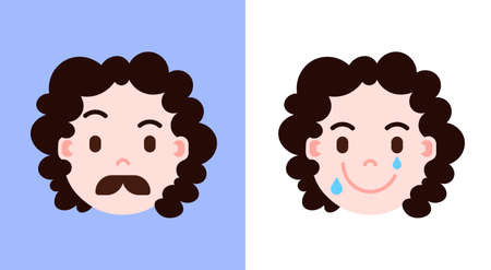 set girl head emoji personage icon with facial emotions, avatar character, mustache and smilling face with different female emotions concept. flat design. vector illustration Illustration