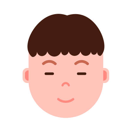 boy head emoji personage icon with facial emotions, avatar character, man sleep smiling face with different male emotions concept. flat design. vector illustration Illustration