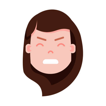 girl head emoji personage icon with facial emotions, avatar character, woman nervous face with different female emotions concept. flat design. vector illustration.