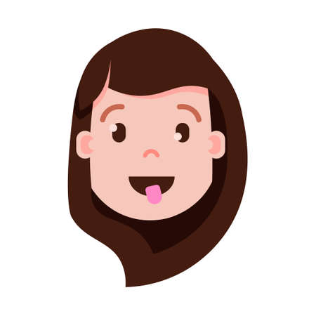 girl head emoji personage icon with facial emotions, avatar character, woman show tongue face with different female emotions concept. flat design. vector illustration