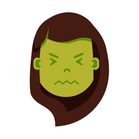 girl head emoji personage icon with facial emotions, avatar character, woman in sickness face with different female emotions concept. flat design. vector illustration
