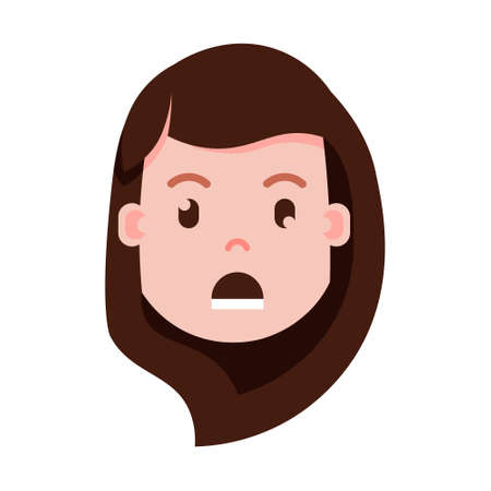 girl head emoji with facial emotions, avatar character, woman grieved face with different female emotions concept. flat design. vector illustration Иллюстрация