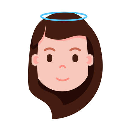 girl head emoji with facial emotions, avatar character, woman nimbus face with different female emotions concept. flat design. vector illustration
