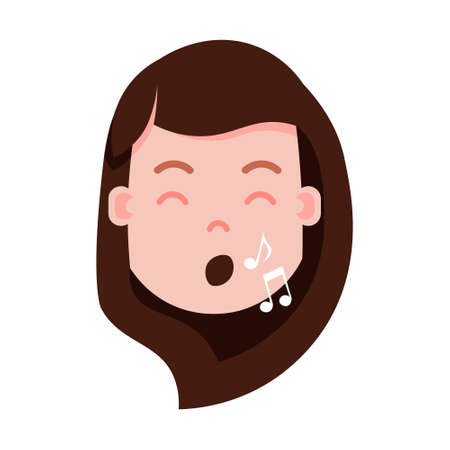 girl head emoji personage icon with facial emotions, avatar character, woman show singing face with different female emotions concept. flat design. vector illustration