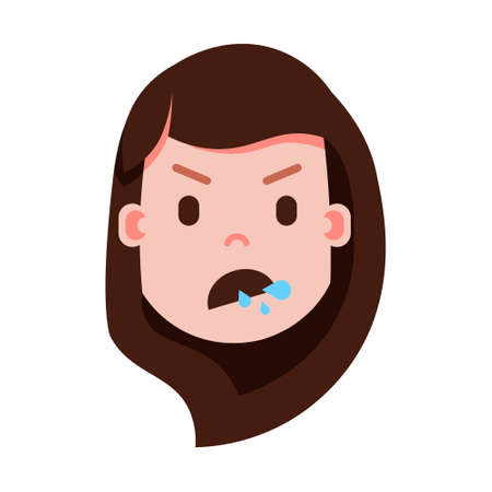 girl head emoji with facial emotions, avatar character, woman split face with different female emotions concept. flat design. vector illustration