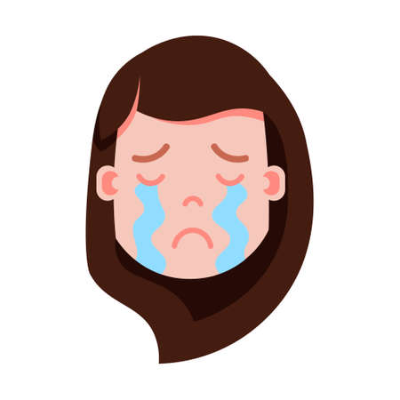 girl head emoji personage icon with facial emotions, avatar character, woman crying face with different female emotions concept. flat design. vector illustration