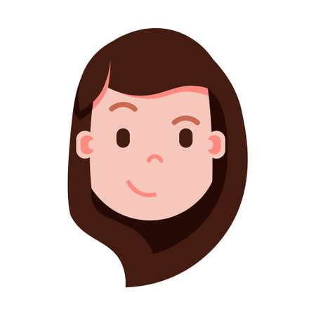 icona di personaggio emoji testa ragazza con emozioni facciali, carattere avatar, viso astuto donna con concetto di emozioni femminili differenti design piatto. illustrazione vettoriale