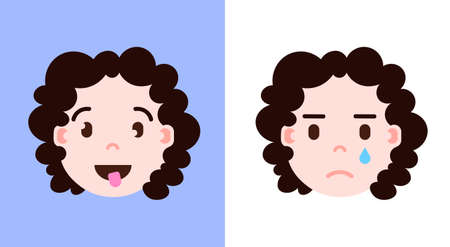 set girl head emoji personage icon with facial emotions, avatar character, smilling and crying face with different female emotions concept. flat design. vector illustration