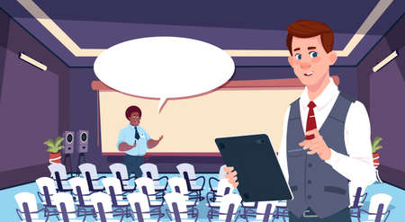 two business person chat communication, businesspeople discussing communication social network flat vector illustration
