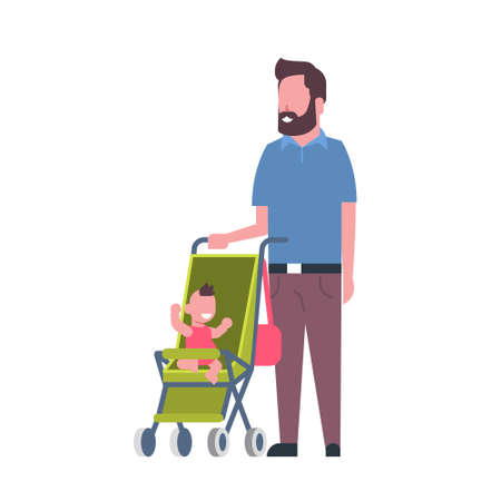 father beard with baby son in stroller full length avatar on white background, successful family concept, flat cartoon vector illustration
