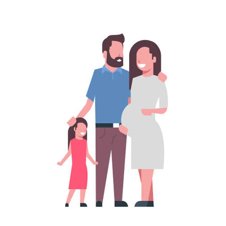 pregnant mother father daughter full length avatar on white background, successful family concept, flat cartoon vector illustration