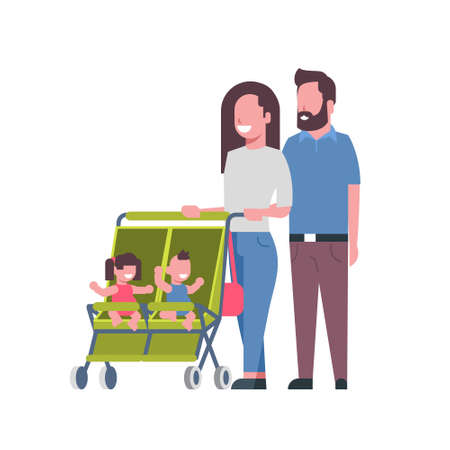 father mother baby twins double stroller full length avatar on white background, successful family concept, flat cartoon vector illustration