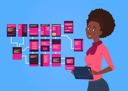 african businesswoman with laptop over site map suitable for info graphics, websites and print media and interfaces on dark background, Wireframe Structure Layout, website flowchart concept vector illustration Illustration
