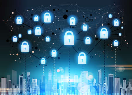 padlock over ciyscape data protection privacy concept. GDPR. Cyber security network background. shielding personal information. internet technology networking connection digital space vector illustration