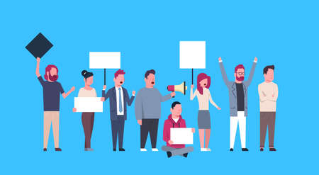 casual people group holding empty boards and shouting at the strike action blue background protection of personal data storage General Data Protection Regulation GDPR concept vector illustration