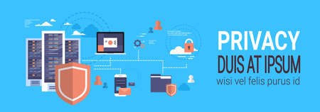 GDPR isometric infographic data privacy on blue background network protection of personal storage General Data Protection Regulation concept banner copy space vector illustration
