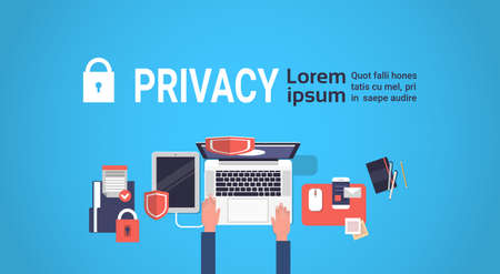 hand laptor GDPR isometric data privacy on blue background network protection of personal storage General Data Protection Regulation concept banner copy space vector illustration Illustration
