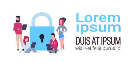 people laptop over padlock Data protection privacy concept. GDPR. Cyber security network background. shielding personal information . internet technology networking connection copy space vector illustration Illustration