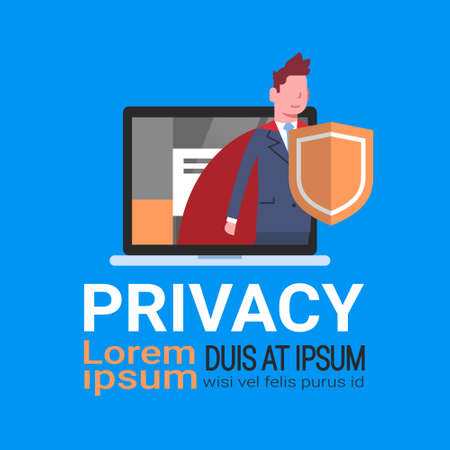 man laptop GDPR data privacy on blue background network protection of personal storage General Data Protection Regulation concept banner copy space vector illustration Illustration