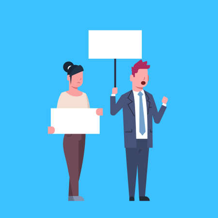 business people holding empty boards and shouting at the strike action blue background protection of personal data storage General Data Protection Regulation GDPR concept vector illustration Stock Illustratie