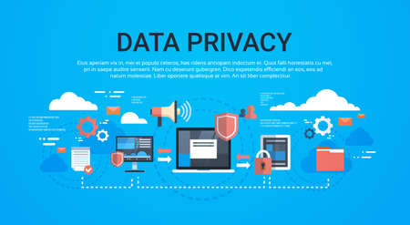 GDPR isometric infographic data privacy on blue background network protection of personal storage General Data Protection Regulation concept copy space vector illustration