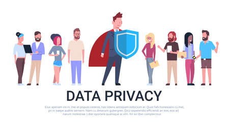 man shield mix race team GDPR data privacy on white background network protection of personal storage General Data Protection Regulation concept banner copy space vector illustration Illustration
