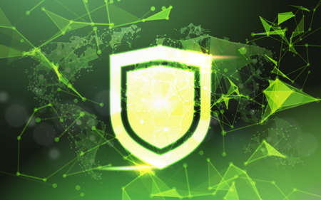 shield over green Data protection privacy concept GDPR Cyber security network background. shielding personal information. internet technology networking connection on digital space. vector illustration Illustration