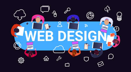top angle view group of diverse people brainstorming gadgets web design, working and responsive network website ideas media information concept vector illustration