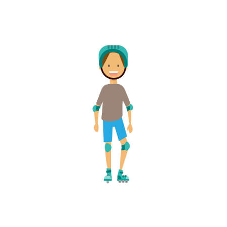 young boy rolling helmet elbow knee pads on white background. full length cartoon character. flat style vector illustration