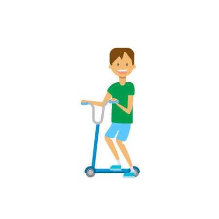 young boy riding kick scooter over white background. cartoon full length character. flat style vector illustration