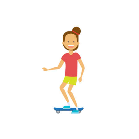 young girl riding electro scooter over white background. cartoon full length character. flat style vector illustration