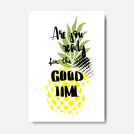 good time pineapple badge Isolated Typographic Design Label. Illustration