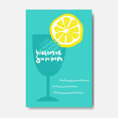 welcome summer lemon cocktail badge Isolated Typographic Design Label.