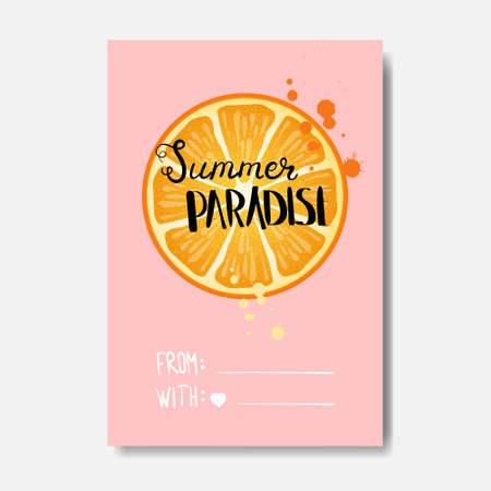 summer paradise orange badge Isolated Typographic Design Label.